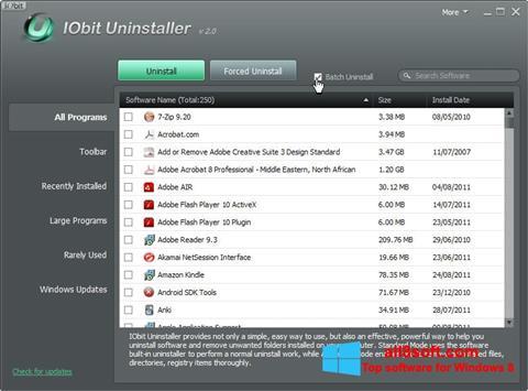 Снимка на екрана IObit Uninstaller за Windows 8