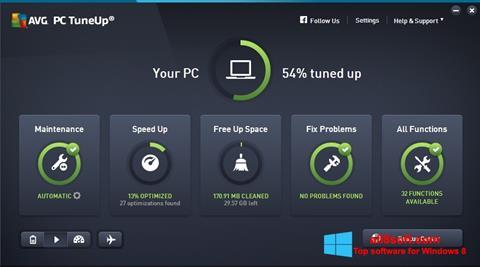 Снимка на екрана AVG PC Tuneup за Windows 8