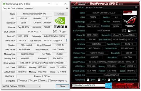Снимка на екрана GPU-Z за Windows 8