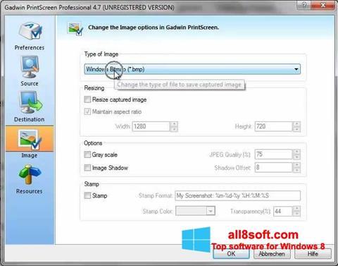 Снимка на екрана Gadwin PrintScreen за Windows 8