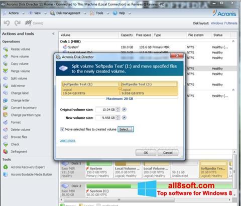 Снимка на екрана Acronis Disk Director за Windows 8