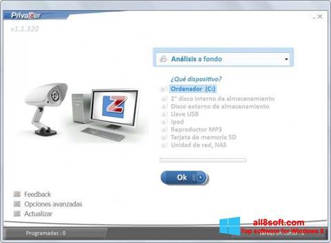Снимка на екрана PrivaZer за Windows 8