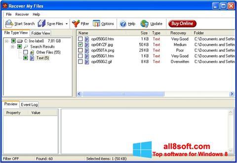 Снимка на екрана Recover My Files за Windows 8