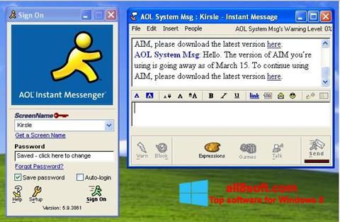 Снимка на екрана AOL Instant Messenger за Windows 8