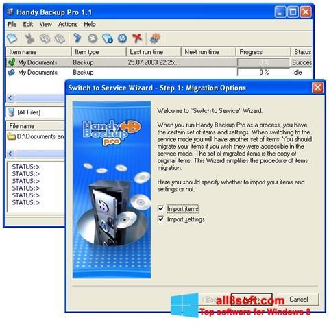 Снимка на екрана Handy Backup за Windows 8