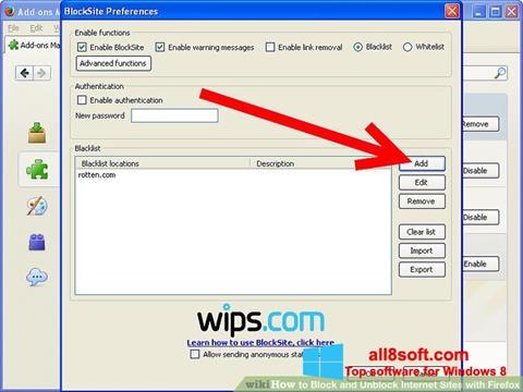 Снимка на екрана uBlock за Windows 8