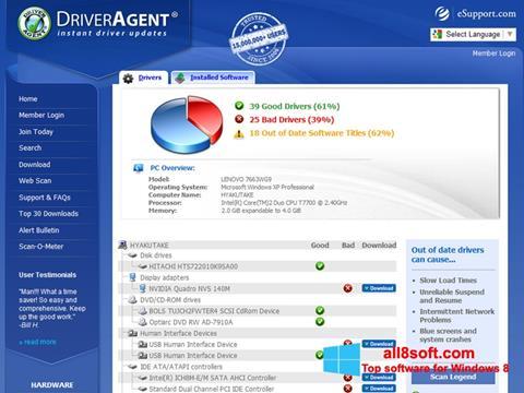 Снимка на екрана DriverAgent за Windows 8