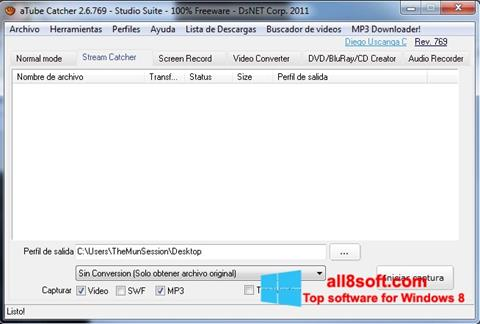 Снимка на екрана aTube Catcher за Windows 8