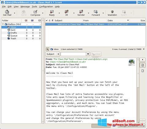 Снимка на екрана Claws Mail за Windows 8