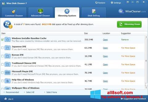 Снимка на екрана Wise Disk Cleaner за Windows 8