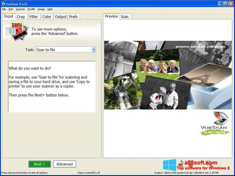 Снимка на екрана VueScan за Windows 8