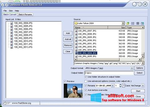 Снимка на екрана FastStone Photo Resizer за Windows 8