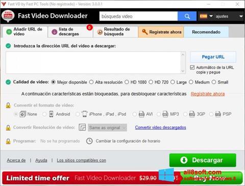 Снимка на екрана Fast Video Downloader за Windows 8
