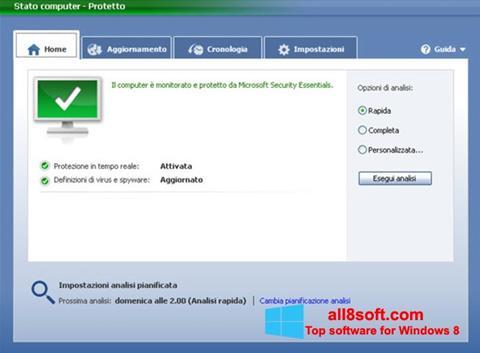 Снимка на екрана Microsoft Security Essentials за Windows 8
