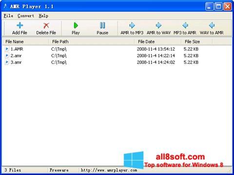 Снимка на екрана AMR Player за Windows 8