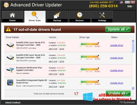 Снимка на екрана Advanced Driver Updater за Windows 8