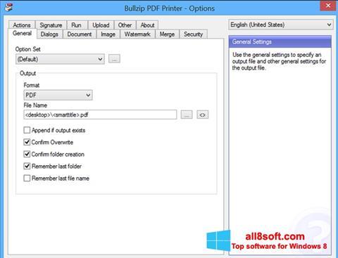 Снимка на екрана BullZip PDF Printer за Windows 8