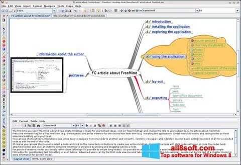 Снимка на екрана FreeMind за Windows 8