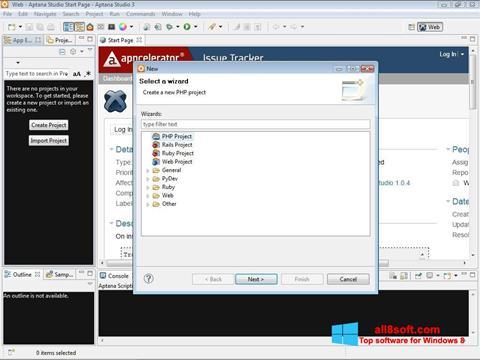 Снимка на екрана Aptana Studio за Windows 8