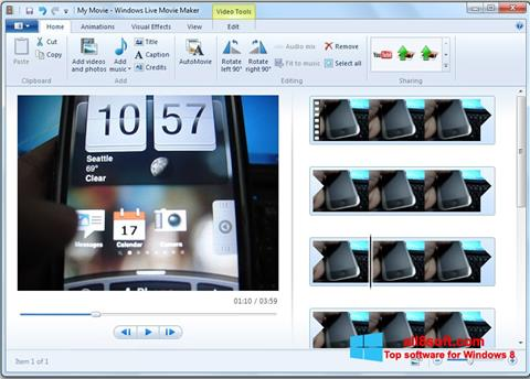 Снимка на екрана Windows Live Movie Maker за Windows 8