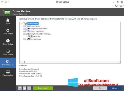 Снимка на екрана Driver Genius за Windows 8