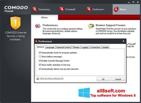 Снимка на екрана Comodo Firewall за Windows 8