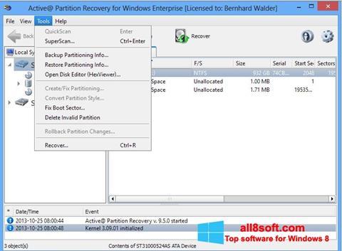 Снимка на екрана Active Partition Recovery за Windows 8