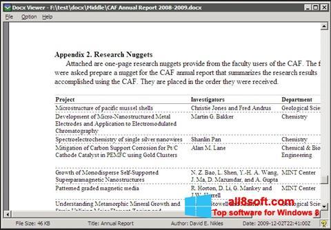 Снимка на екрана DocX Viewer за Windows 8