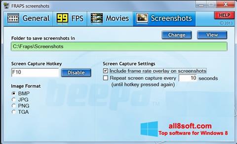 Снимка на екрана Fraps за Windows 8