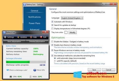 Снимка на екрана BatteryCare за Windows 8