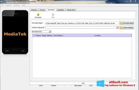 Снимка на екрана FlashTool за Windows 8