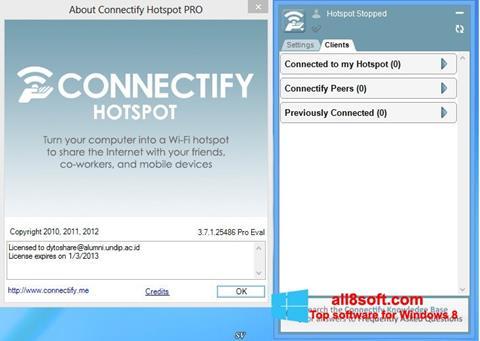 Снимка на екрана Connectify за Windows 8