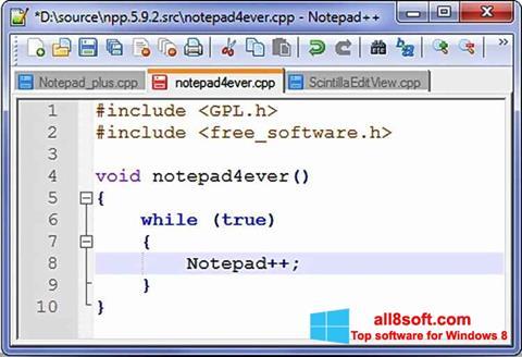 Снимка на екрана Notepad++ за Windows 8