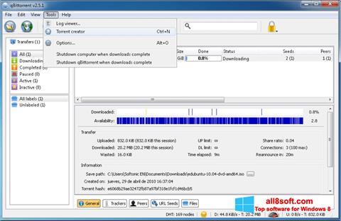 Снимка на екрана qBittorrent за Windows 8