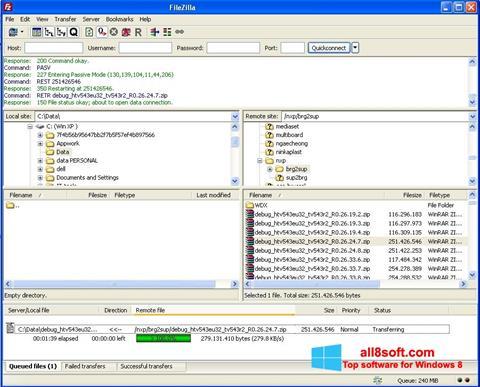 Снимка на екрана FileZilla за Windows 8