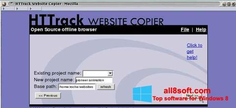 Снимка на екрана HTTrack Website Copier за Windows 8