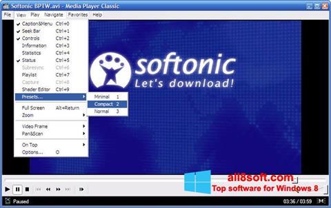 Снимка на екрана Media Player Classic за Windows 8