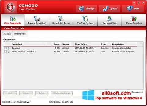 Снимка на екрана Comodo Time Machine за Windows 8