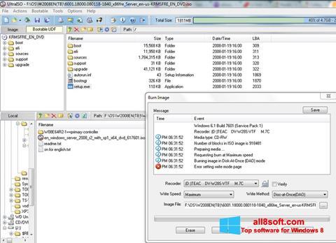 Снимка на екрана UltraISO за Windows 8