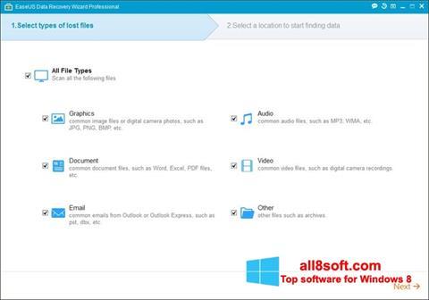 Снимка на екрана EaseUS Data Recovery Wizard за Windows 8