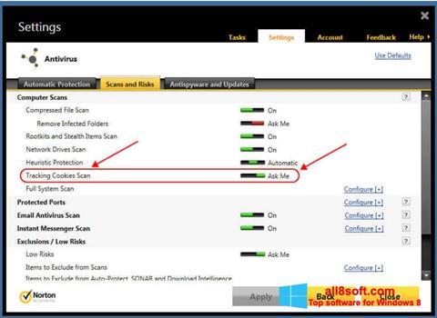 Снимка на екрана Norton за Windows 8