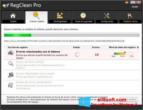 Снимка на екрана RegClean Pro за Windows 8