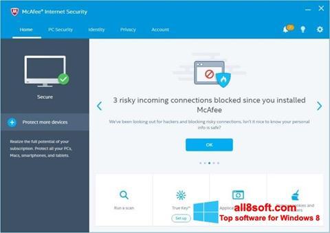 Снимка на екрана McAfee за Windows 8