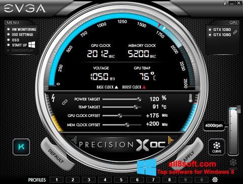Снимка на екрана EVGA Precision X за Windows 8