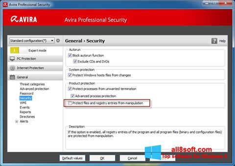Снимка на екрана Avira Professional Security за Windows 8