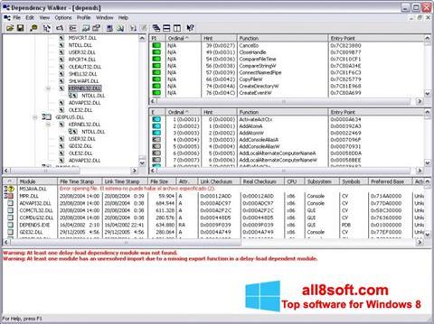 Снимка на екрана Dependency Walker за Windows 8