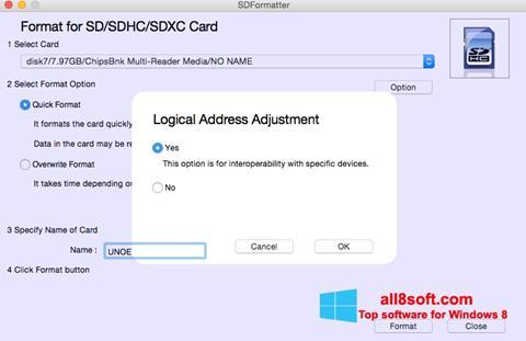 Снимка на екрана SDFormatter за Windows 8
