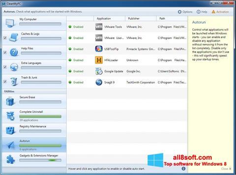 Снимка на екрана CleanMyPC за Windows 8
