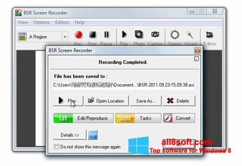 Снимка на екрана BSR Screen Recorder за Windows 8