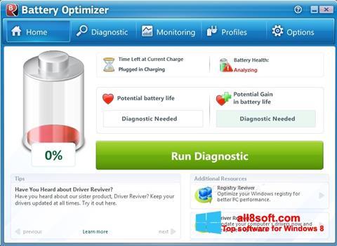 Снимка на екрана Battery Optimizer за Windows 8